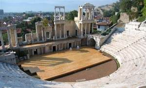 stage of roman amphitheater in Plovdiv