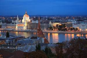 Budapest landscape in evening twilight